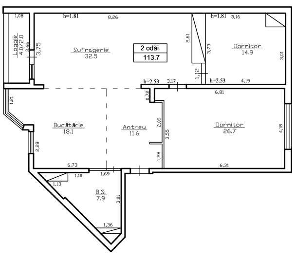 Ap. 2 camere 113 m².  - 58 300 Euro - ap.114