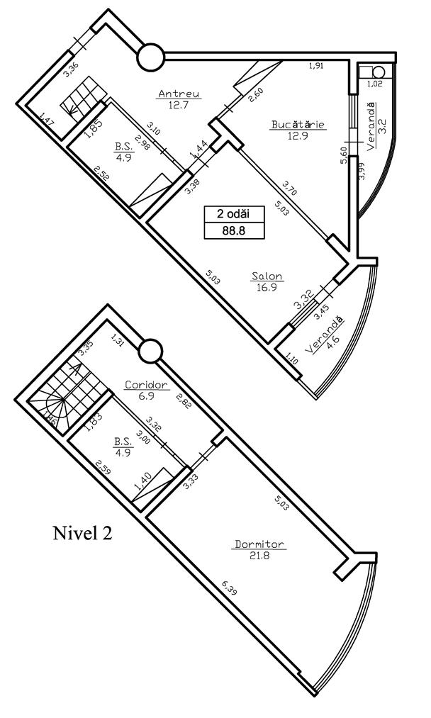 Ap. 2 camere 88 m² (2 nivele) - 45 000 Euro - ap.116