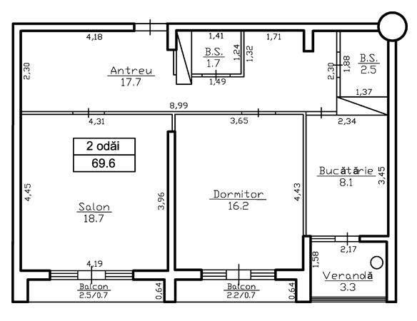 2 Camere 69,6 m² 39 324 € ap 12