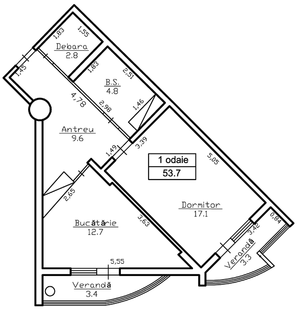 Ap. 2 camere 55,4 m² - 28 808 € ap. 29 și 3