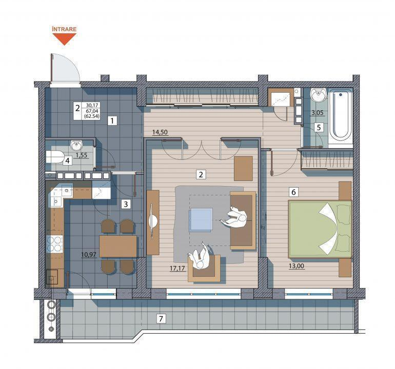 Apartament cu 2 camere. Bd.Cuza-Vodă 13/5