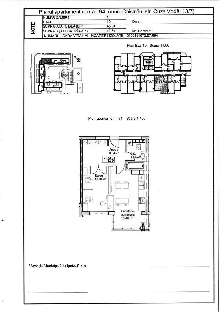 Apartamente cu 1 cameră pe bd. Cuza-Vodă 13/7