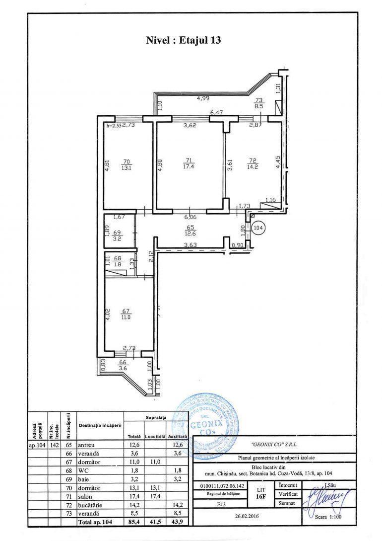 Apartament cu 3 camere. Bd. Cuza-Vodă 13/8