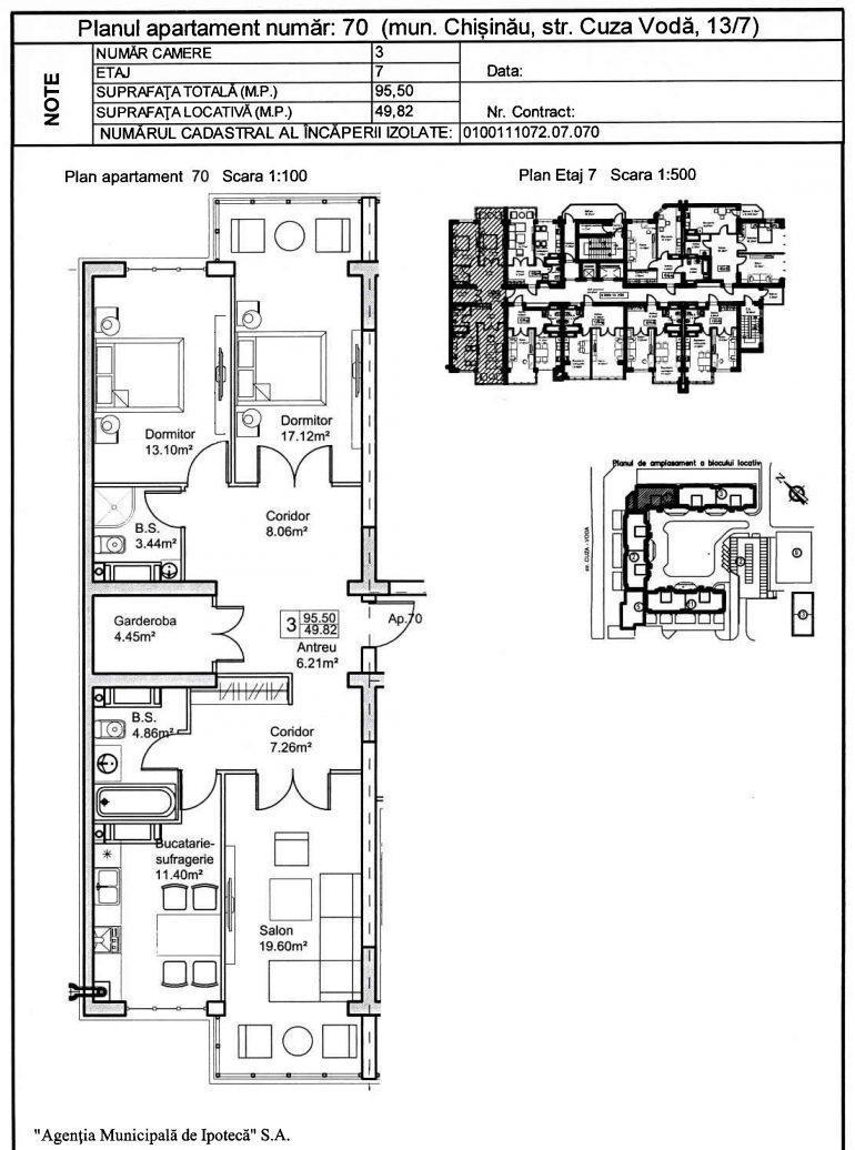 Apartament cu 3 camere pe bd. Cuza-Vodă 13/7